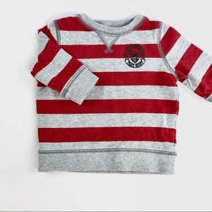 Carters baby red and grey striped sweater